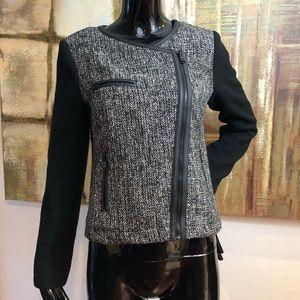 Faux Leather Trim Full Zip Metallic Tweed Blazer